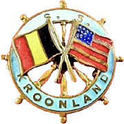 S.S. Kroonland Belgian (American) Steamship Oceanliner Red Star Line Souvenir Pin 1902-1917 1920-1928
