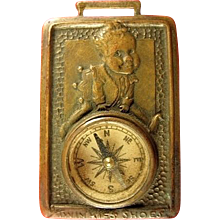 Twinkie's Shoes Hamilton-Brown Shoe Company Advertising Brass Watch Fob with Compass ca. 1920's-1930's