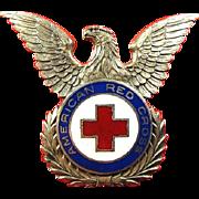 American Red Cross Officers Dress Cap Insignia Silver Finish ca. 1947