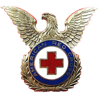 American Red Cross Officers Dress Cap Insignia Silver Finish ca. 1947