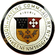 Masonic Knights Templars Hugh DePayens Commandery No. 7 Keene, N.H. Badge Sterling ca. 1900's-1910's