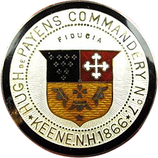 Masonic Knights Templars Hugh DePayens Commandery No. 7 Keene, N.H. Badge Sterling ca. 1900's-1910's