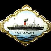 RMS Samaria Cunard Lines Ocean Liner Steamship Passenger Ship Souvenir Pin ca. 1920's-1930's
