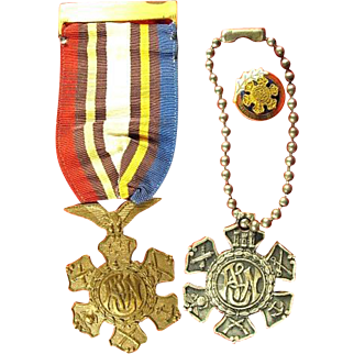 Army Navy Union Group: Medal, Past Commander's Lapel Pin, and ANU Keychain Tag