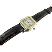 Cartier 18k Yellow Gold and Stainless Steel Santos Strap Watch