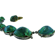 Egyptian Revival Genuine Green Scarab Beetle Bracelet