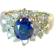 Natural 3 CTW Blue Sapphire Diamond 18k Ring