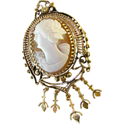 Lovely Antique 14k Left Facing Cameo Pendant / Brooch