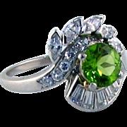 Fabulous Peridot VS/VVS Diamond Platinum Ring - signed Peacock