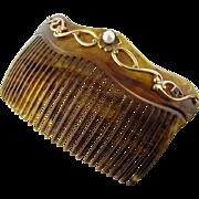 Large Art Nouveau 14k Sapphire Pearl Comb