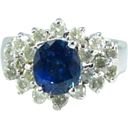Gorgeous 3 CTW Blue Sapphire Diamond 18k Ring