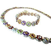 Great Multistone Sterling Necklace & Bracelet