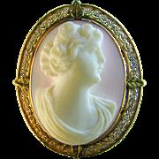 Cameo Pendant Brooch Natural Angelskin Shell 10k Rose Gold