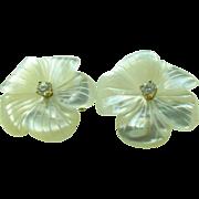 Lovely Large Mother of Pearl Diamond 14k Earrings