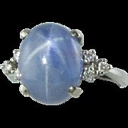 Luscious 9 Ct Star Sapphire & Diamond 14k Ring