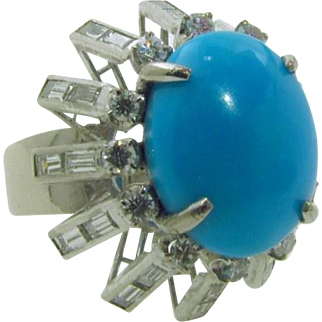 Luscious Large Turquoise Diamond Platinum Ring