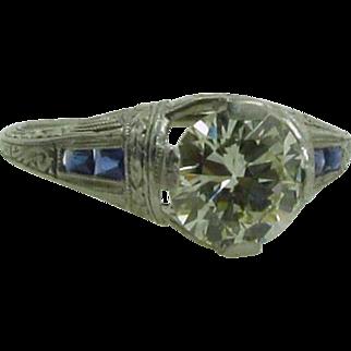 Art Deco 1.14 Ct Diamond Sapphire Platinum Ring