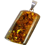 Great Large Amber Sterling Pendant