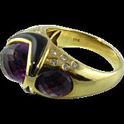 Beautiful 18k Amethyst Onyx Diamond Ring