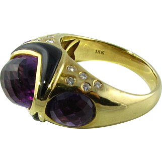 Beautiful 18k Amethyst Onyx Diamond Ring
