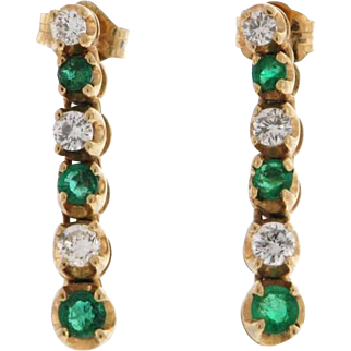 Classic Emerald Diamond 14k Earrings