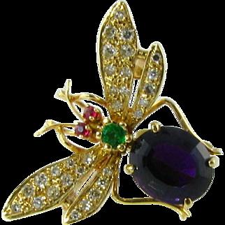 High Quality Diamond Amethyst Emerald Ruby 14k Bug Brooch