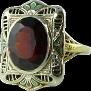 Art Deco 14k Enamel Filigree Garnet Ring