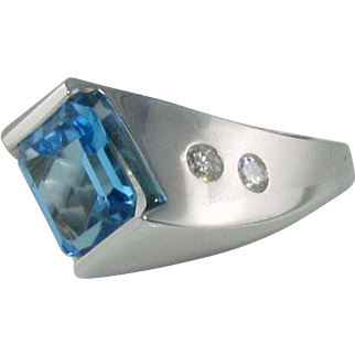 Custom 14k Blue Topaz Diamond Ring