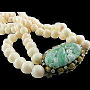 Amazing Angel Skin Coral Jadeite Diamond 14k Gold Necklace
