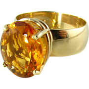 Fine Large Natural Orange Citrine 14k Ring