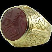 Men's Carnelian Intaglio 18k Ring