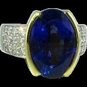 Fabulous Tanzanite Diamond Platinum 18k Ring