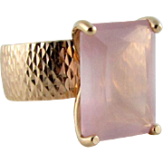 Lovely Italian Rose Quartz 14k Rose Gold Ring