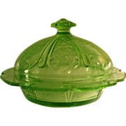 Green Depression Glass Covered Butter Dish, Cherry Blossom