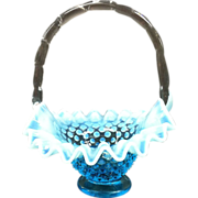 Fenton Blue Opalescent Basket