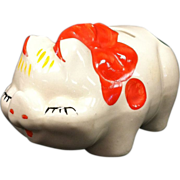 Smiley Piggy Bank By Shawnee Pottery