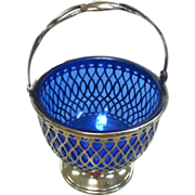 Sterling Silver Basket With Cobalt Blue Glass Insert