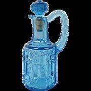 EAPG Blue Cruet Stars & Bars Pattern by Bellaire Goblet Co