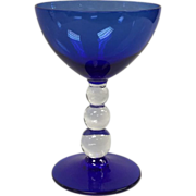 Tall Sherbet/Champagne By Bryce Glass in Cobalt Blue With Bubble Stem