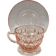 Depression Glass Windsor Diamond Cup & Saucer By Jeannette