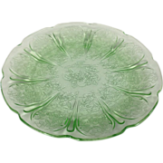 "Depression Glass Cherry Blossom 7"" Plate In Green By Jeannette Glass"