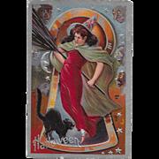 Vintage Halloween Postcard By Nash - Keyhole Series Witch & Black Cat