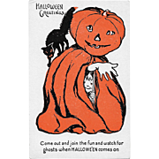 Vintage Halloween Postcard - Jack-O-Lantern Halloween Greetings Series #1133