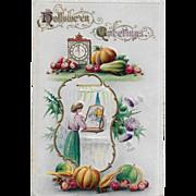 Vintage Embossed Halloween Postcard - Hallowe'en Greetings 1930