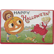 Vintage Halloween Postcard Two Children With Jack-O-Lantern 1908