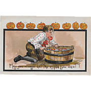 Vintage Halloween Postcard - Little Boy Bobbing For Apples 1910