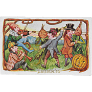 Vintage Halloween Postcard - Vegetable Harvest Dance 1910