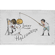 Vintage Halloween Postcard With Embossed Edge Border By Nash