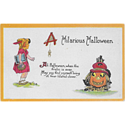 Vintage Halloween Postcard - Hilarious Halloween Black Cat, Girl & JOL