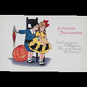 Vintage Halloween Postcard - A Joyous Halloween - Boy, Girl & JOL